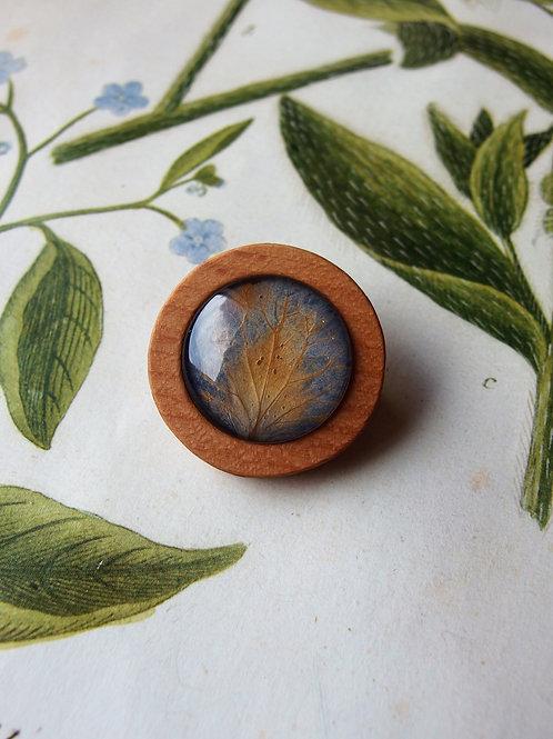 Brosche Hortensie Blatt blau