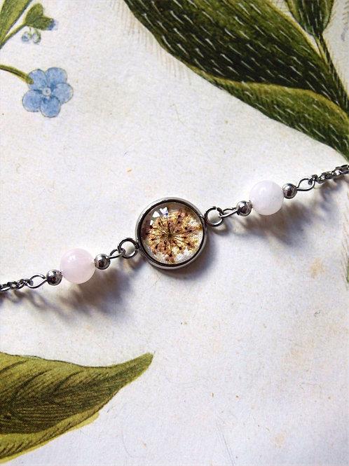 Armband Edelstahl Doldenblüte rosa