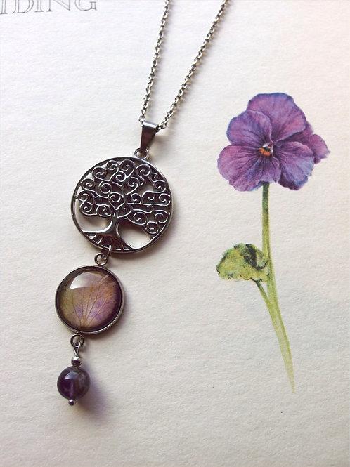 Halskette  Lang Lebensbaum Hortensie Violet