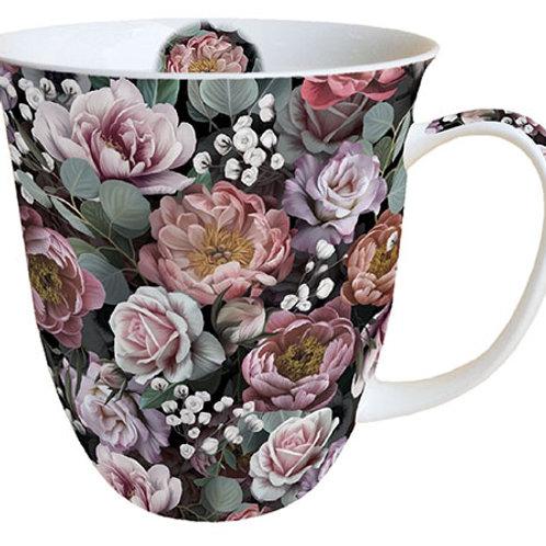 Tasse groß Blumen schwarz