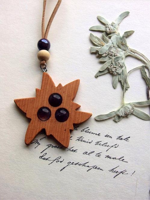 Halskette lang Edelweiß Holz violet