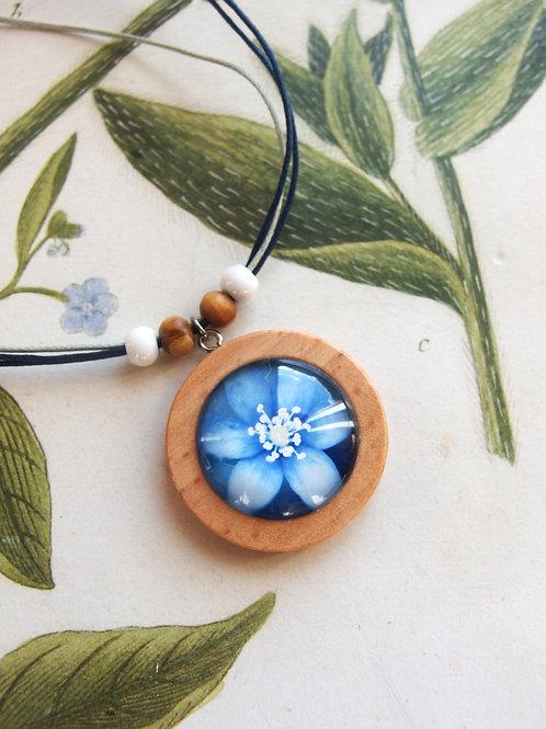 Halskette groß Blume blau