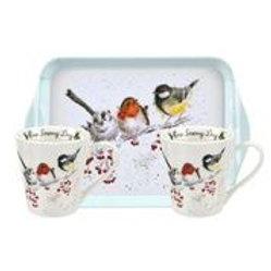 Wrendale design Royal Worcester Geschenksset Wintervögel