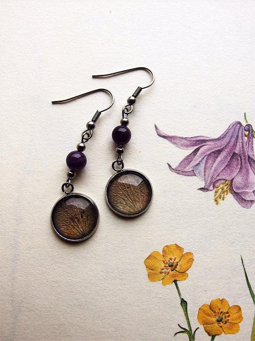 Ohrringe Edelstahl lang Hortensie Blatt violet