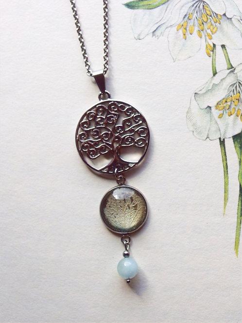 Halskette  Lang Lebensbaum Hortensie hellblau