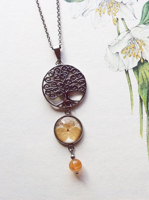 Halskette  Lang Lebensbaum Hortensie