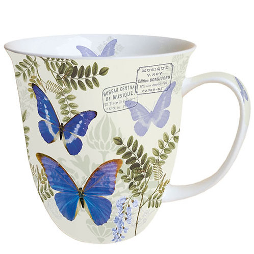 Tasse groß Schmetterlinge blau