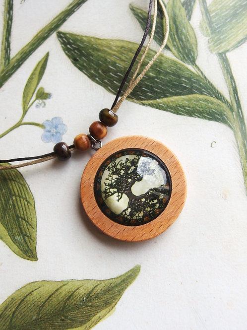 Halskette groß Lebensbaum grau