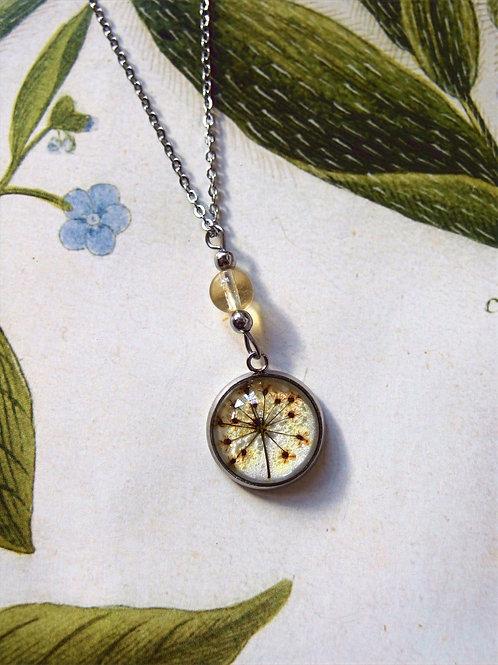 Set Doldenblüte weiß: Halskette, Armband und Ohrringe
