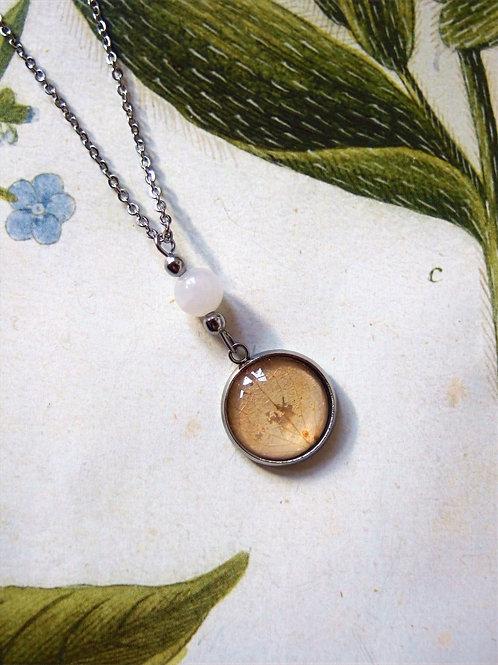 Set Hortensie Blatt rosa: Halskette und Ohrringe lang
