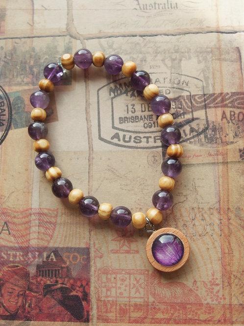 Holz- und Edelsteinarmband Hortensie Blatt violet
