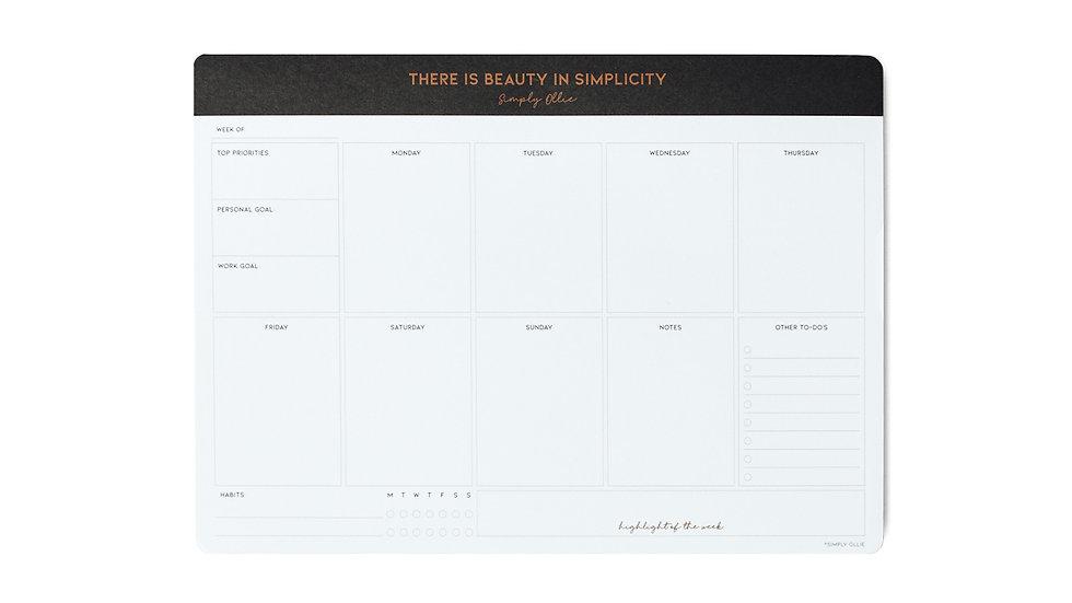 Weekly Desk Planner, Noir