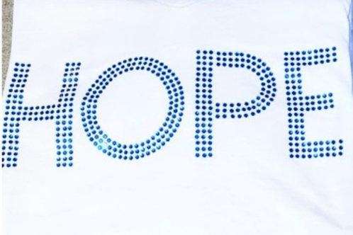 Blue Rhinestone Bedazzled HOPE Tee