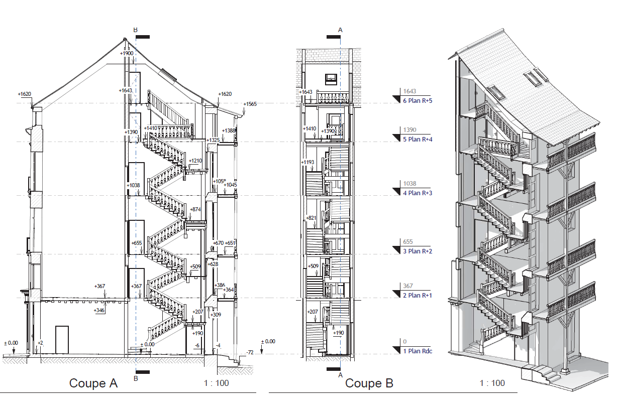 Coupe 2D 3D Revit BIM
