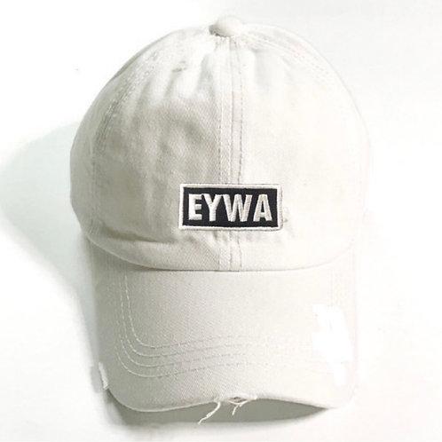 White EYWA Distressed Denim Cap