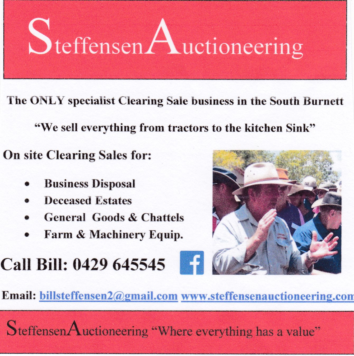 steffensen auctioneering ad