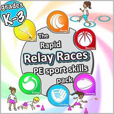 relay races PE sports skill pack, prime coaching sport lessons ideas skills PE kids fitness and fundamental sports skills
