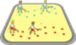 Bounce and hit through tunnel, pe physcial education grade 1 kindergarten sport teaching lesson plans how to