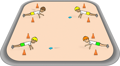 Slide the bean bag past the line, pe physcial education grade 1 kindergarten sport teaching lesson plans how to