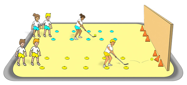 hockey target knockdown challenge, pe games and stations, sports skills and drills, pe physcial education grade 1 kindergarten sport teaching lesson plans how to