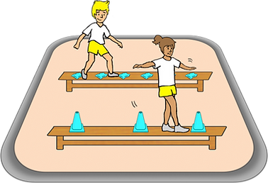 walk across the benches, pe physcial education grade 1 kindergarten sport teaching lesson plans how to