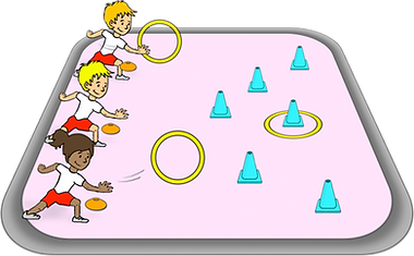 throw hoops over cones, fun games with hula hoops, pe physcial education grade 1 kindergarten sport teaching lesson plans how to