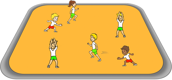 silly bananas PE station gross motor, movements, co-ordination, elementary, school, class, exercise