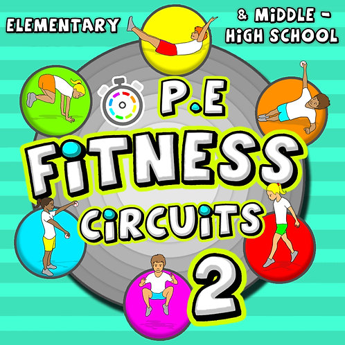 Fitness Circuit Station cards - Volume 2: 36 more PE activities for grades K-8