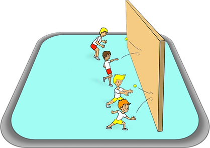 1 hand catches off the wall game, pe physcial education grade 1 kindergarten sport teaching lesson plans how to