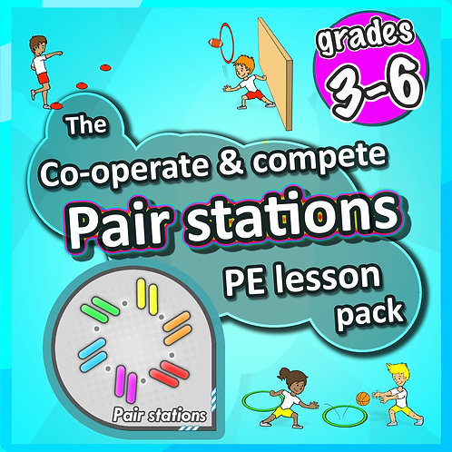 PE Games + Skill Stations: 50 fun sport activities for pairs to play - Grade 3-6