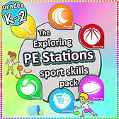 PE stations sports skills pack, pe physcial education grade 1 kindergarten sport teaching lesson plans how to