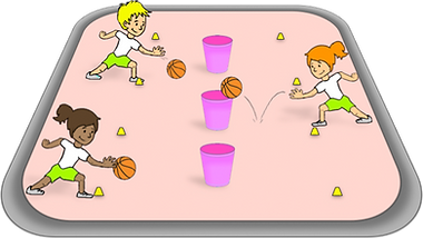 bounce into the buckets game, basketball ideas, how to teach basket ball, PE basic games