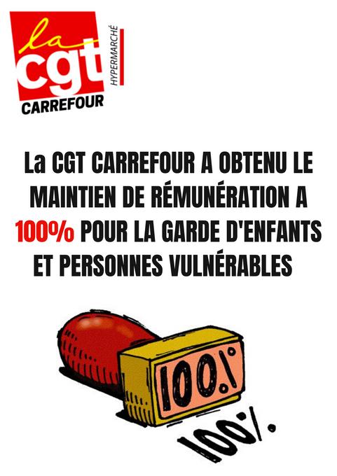 La CGT CARREFOUR A OBTENU LE MAINTIEN DE RÉMUNÉRATION A 100% POUR LA GARDE D'ENFANTS ET PERSONNE