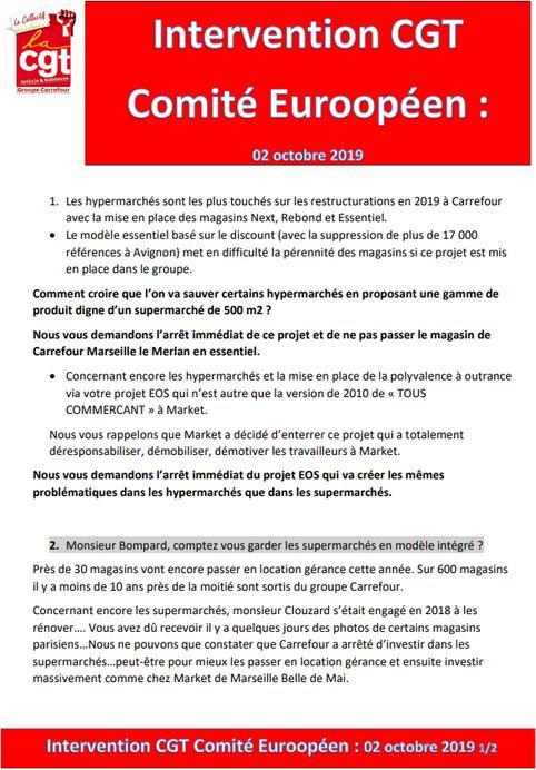 Intervention CGT au comité Européen
