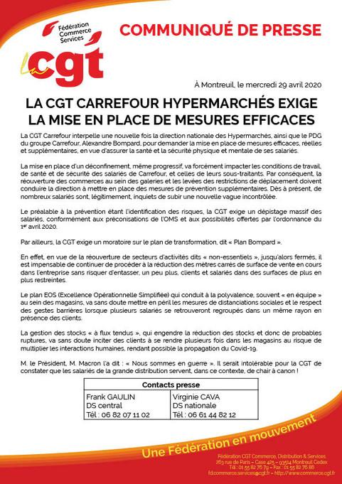 Communiqué de Presse - La cgt carrefour hypermarchés exige la mise en place de mesures efficaces.