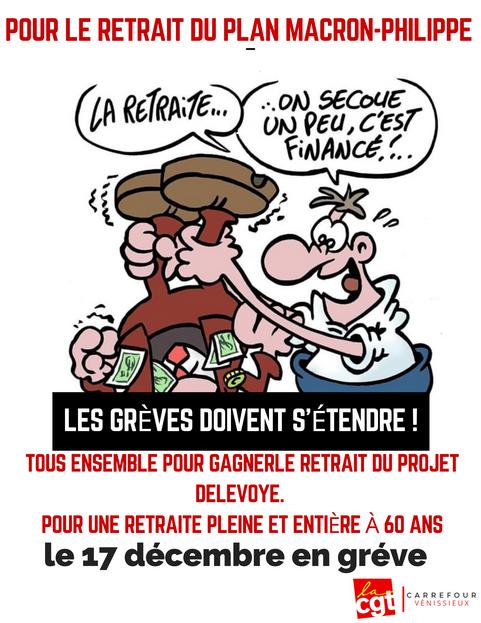 Pour le retrait du plan Macron-Philippe Les grèves doivent s'étendre ! Tous en gréve le 17 décembre