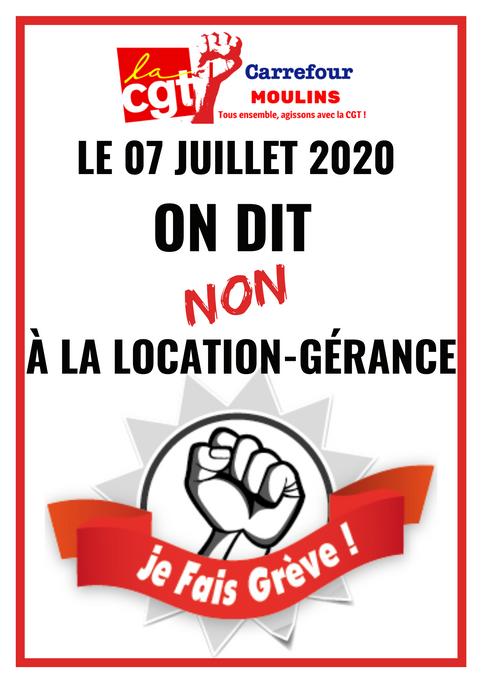 Le 07 juillet 2020, on dit NON à la location-gérance à carrefour Moulins