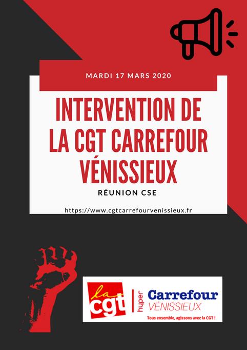 DÉCLARATION DE LA CGT CARREFOUR VÉNISSIEUX du CSE du 17 mars 2020