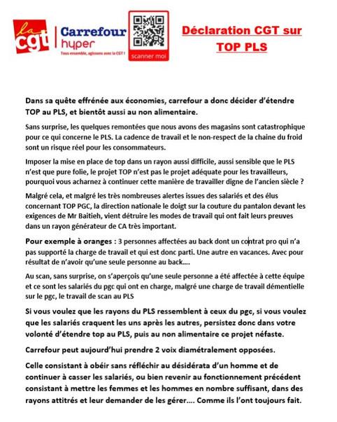 Déclaration CGT sur TOP PLS