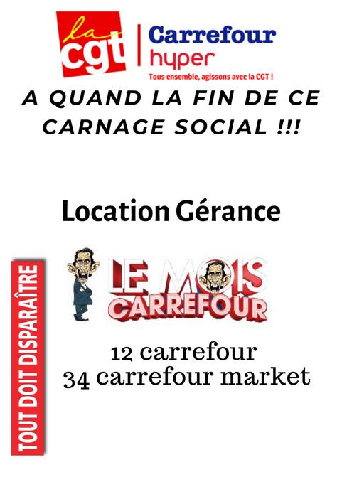 A quand la fin de ce carnage social !!! 12 carrefour et 34 carrefour market en location gérance