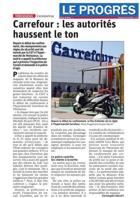 Carrefour Vénissieux - Les autorités haussent le ton pour... que rien ne change !