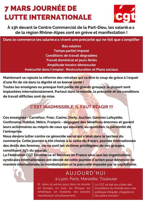 7 MARS JOURNÉE DE LUTTE INTERNATIONALE À 13h devant le Centre Commercial de la Part-Dieu, les salari