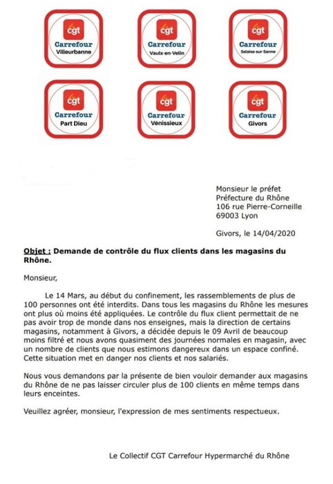 Courrier au préfet du Rhône : demande de contrôle du flux clients dans les magasins du Rhône