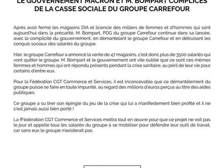Le gouvernement Macron et M.Bompart Complices de la casse sociale du groupe carrefour