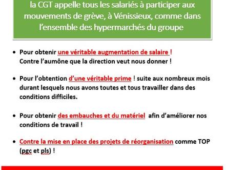 La CGT carrefour Vénissieux appel à la grève tous les salariés ce samedi 03 avril 2021