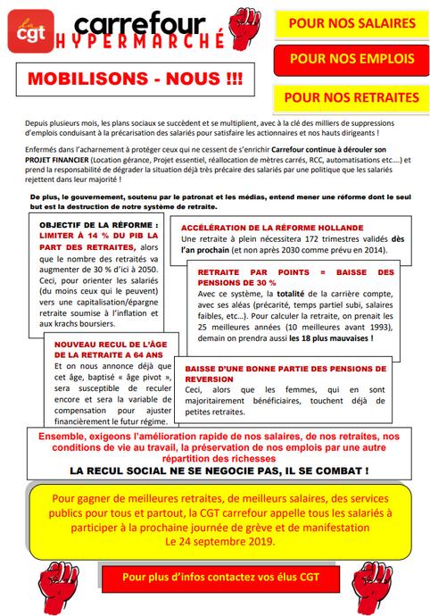Retraites : Stoppons le projet de régression sociale ! 24 septembre 2019