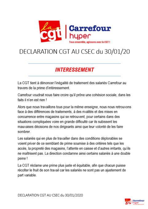 Déclaration CGT au CSEC du 30 janvier 2020 - INTÉRESSEMENT