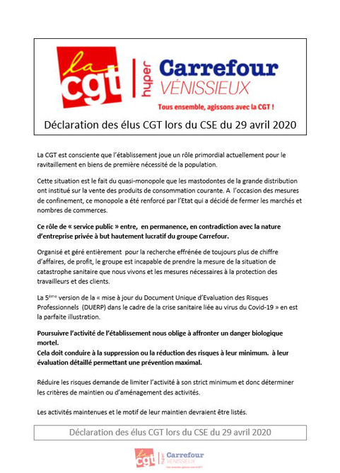 Déclaration des élus CGT carrefour Vénissieux lors du CSE du 29 avril 2020
