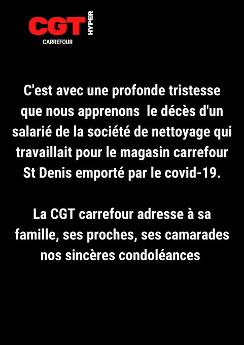 le décès d'un salarié de la société de nettoyage qui travaillait dans le magasin carrefour St De