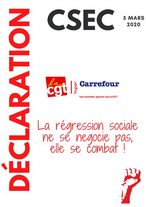 DÉCLARATION DE LA CGT CARREFOUR AU CSEC DU 5 MARS 2020